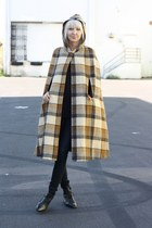 Vintage Tan Brown Plaid Hooded Wool Cape Coat