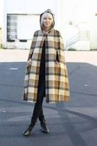 Vintage Tan Brown Plaid Hooded Wool Cape Coat