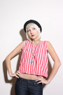 Navy-bell-bottoms-paige-jeans-red-striped-tank-vintage-top-brown-cynthia-vin