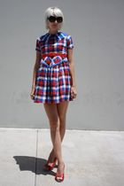 blue vintage plaid Honeylane dress - red C Ronson shoes