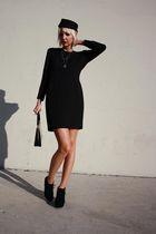 black cynthia rowley dress - black H&M hat - black Forever 21 shoes - black vint