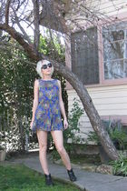 blue vintage dress - black vintage boots - black Forever 21 sunglasses