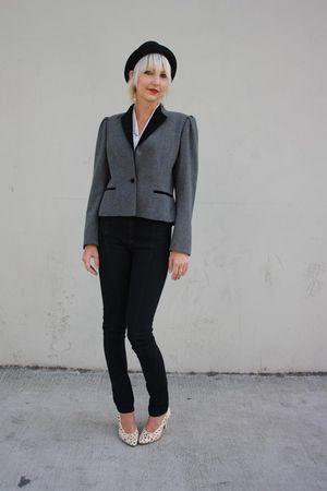 gray Sasson blazer - black Judi Rosen jeans - white vintage blouse - black vinta