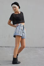 black vintage Joan David boots - black vintage hat - blue vintage shorts - black