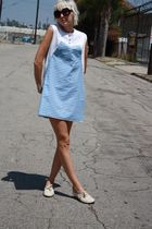 blue gingham vintage dress - white vintage shoes - black Forever 21 sunglasses