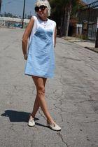 blue gingham vintage dress - white vintage shoes - black Forever 21 sunglasses