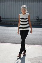white liz claiborne top - black Judi Rosen jeans - brown vintage boots