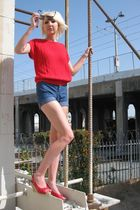 red vintage top - blue Dittos shorts - red Charlotte Ronson shoes - black Venice