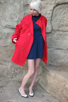red NPC Fashions jacket - blue vintage dress - white vintage shoes