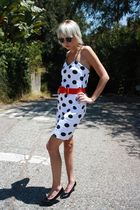 red bow H&M belt - black vintage shoes - white polka dot vintage dress