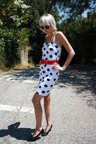 red bow H&M belt - black vintage shoes - white polka dot vintage dress