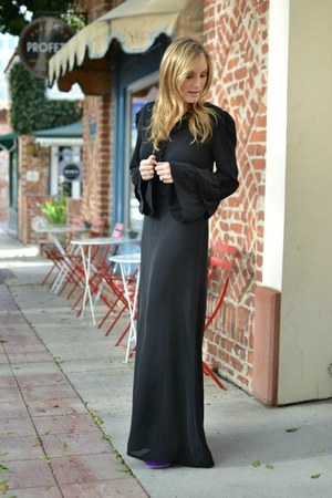black Parker dress - deep purple YSL heels