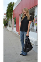 black Gucci bag - navy flared 7 for all mankind jeans - black Forever 21 top