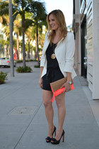 carrot orange H&M bag - white Elizabeth and James blazer - black JCrew romper