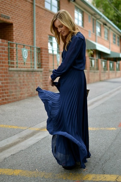 blue pleated Parker dress