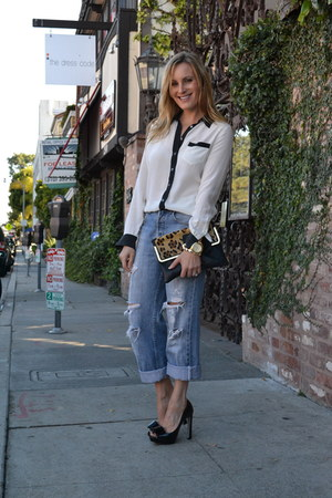vintage levis jeans - Topshop bag - Miu Miu heels - Equipment blouse