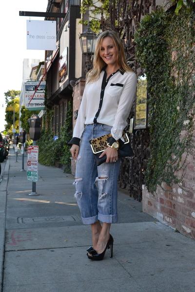 vintage levis jeans - Topshop bag - Miu Miu heels - Equipment blouse