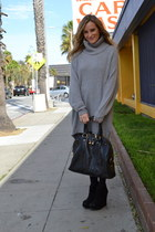 heather gray knit Zara dress - black YSL bag - black suede Steve Madden wedges