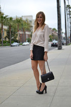 black Chanel bag - black tweed Forever 21 skirt - black Alice  Olivia heels