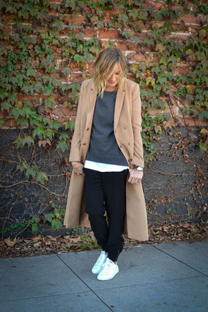 Forever 21 coat - vince sweater - Forever 21 pants - stan smith Adidas sneakers