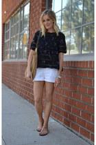 straw tote JCrew bag - Paige shorts - JCrew sandals - Aritzia blouse