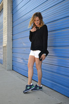 black H&M sweater - white Paige shorts - New Balance sneakers