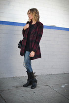 plaid Forever 21 coat - moto fiorentini and baker boots