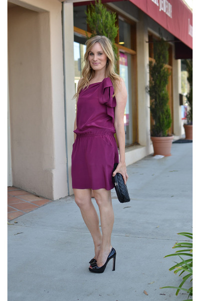 black Chanel bag - maroon Mason by Michelle Mason dress - black Miu Miu heels