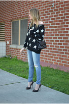 star print Forever 21 sweater - lace Jimmy Choo shoes