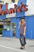 black Gucci bag - puce J Brand jeans - Forever 21 hat - black Miu Miu heels