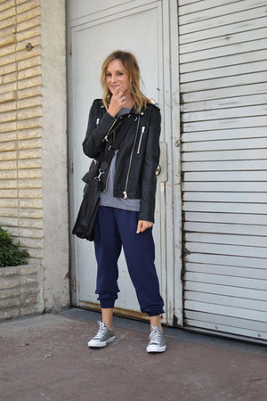 black Forever 21 jacket - gray H&M sweater - black Hermes bag - navy Joie pants