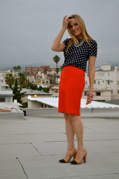 d0c3dda07 carrot orange pencil JCrew skirt - navy polka dot JCrew shirt - tan Zara  heels