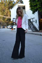 black wide leg BCBG pants - white Elizabeth and James blazer