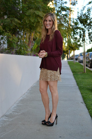 sequined Zara skirt - Miu Miu shoes - H&M sweater
