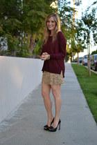 sequined Zara skirt - Miu Miu shoes - H&M sweater