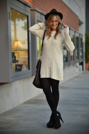 eggshell aiko dress - black Steve Madden boots - dark brown Forever 21 hat