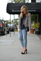 crimson Miu Miu heels - navy Current Elliott jeans - black Zara blazer