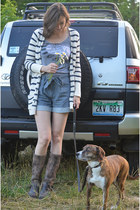 Frye boots - Tulle shorts - M Rena top - free people cardigan