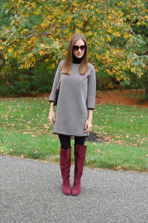 maroon Chinese Laundry boots - black sweater dress Zara dress