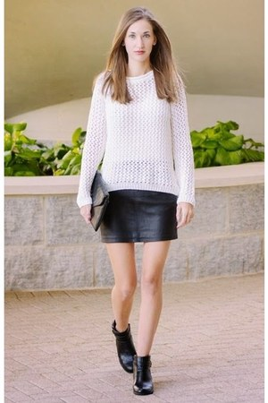 black ankle boots unisa boots - white knit hm sweater