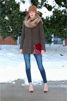 dark green Loft coat - navy STS Blue jeans - tan felt floppy Target hat