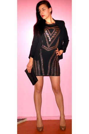 black with studs Zapping dress - black clockhouse jacket