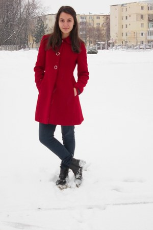 red coat - leather new look boots - Bershka jeans
