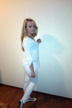 white H&M panties - white soft Zara shirt - white leather etam flats