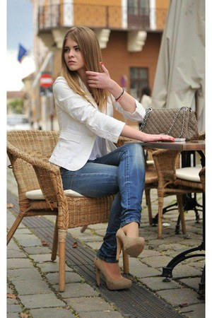 blue denim Bershka jeans - beige Office Shoes heels