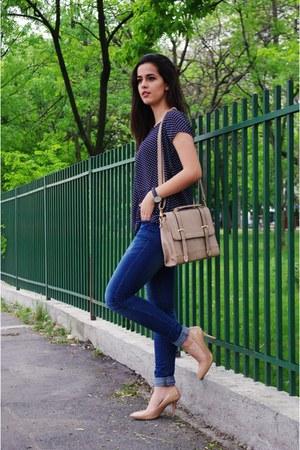 navy Answearro jeans - navy polka dots Fashionmia shirt