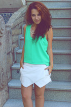 black Zara bag - white Zara shorts - black BLANCO sandals - aquamarine Zara top
