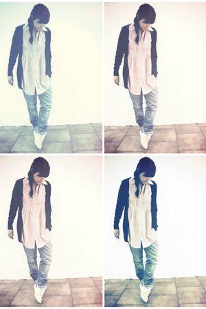 pink Stradivarius blouse - blue pull&bear jeans - blue Zara coat - white nike