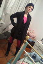 black shoes - black stockings - pink leggings - black jacket - pink dress - blac