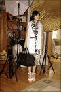 Blue-vest-white-dress-white-gosh-shoes-black-scarf-brown-versace-belt-